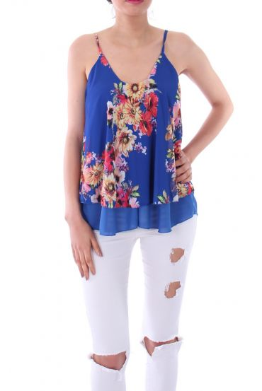 TOP IMPRIME FLORAL 0125 ROYAL