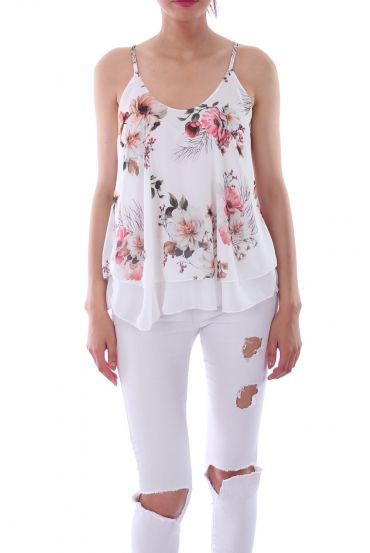 TOP PRINT FLORAL 0125 WHITE