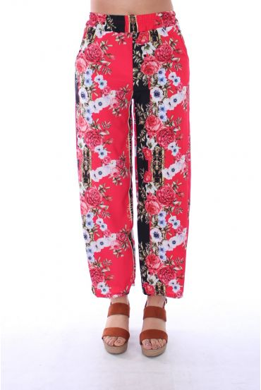 PANTS PRINTS FLOWERS 0128 RED