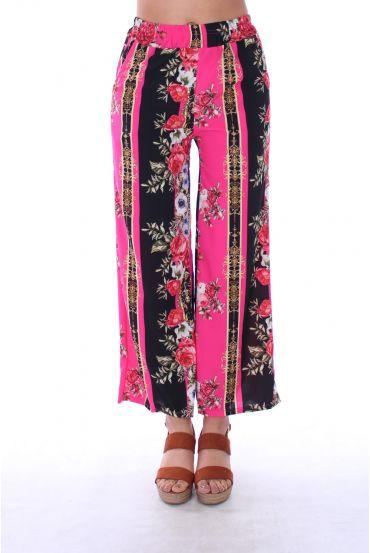 PANTS PRINTS FLOWERS 0128 FUSHIA
