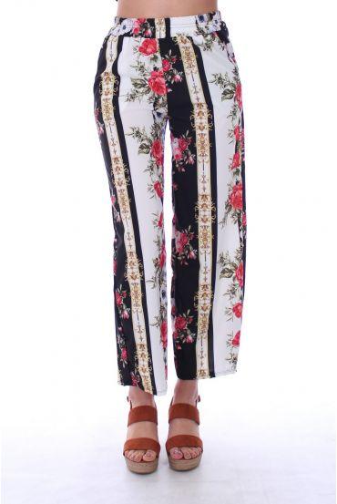 PANTS PRINTS FLOWERS 0128 BLACK