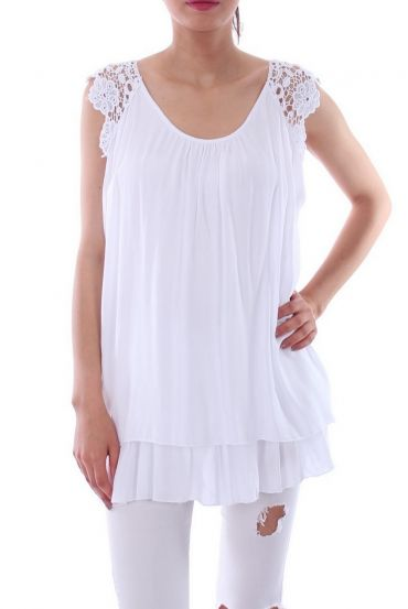 TUNIC SLEEVES LACE 0105 WHITE
