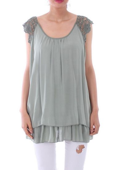 TUNIC SLEEVES LACE 0105 MILITARY GREEN