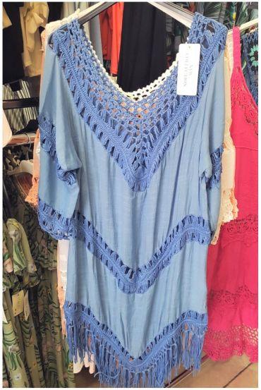 BEACH TUNIC CROCHET 0129 BLUE