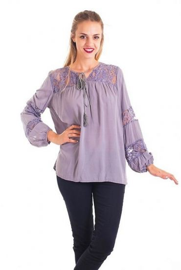 BLOUSE LACE GREY 1088