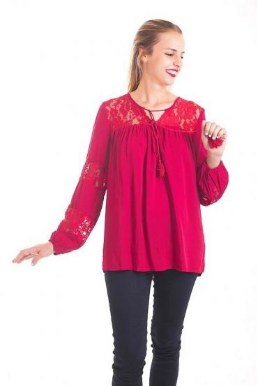 BLOUSE LACE BORDEAUX 1088