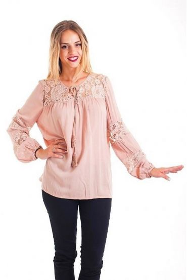 BLOUSE LACE TAUPE 1088