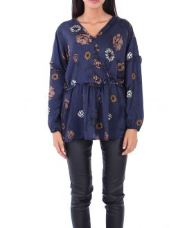 BLOUSE SATINEE 0128 NAVY