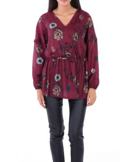 BLOUSE SATINEE 0128 BORDEAUX