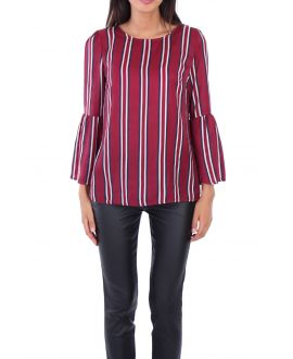 BLOUSE RAYEE SATINEE 0136 BORDEAUX