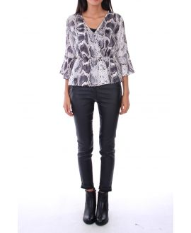 BLOUSE REPTILE SATINEE 0131 GREY