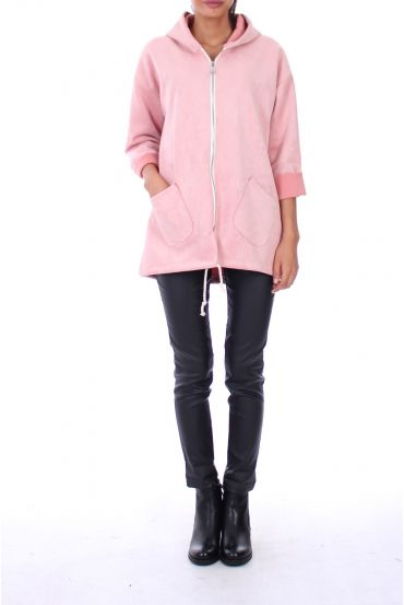 MANTEAU ZIPPE 0116 ROSE