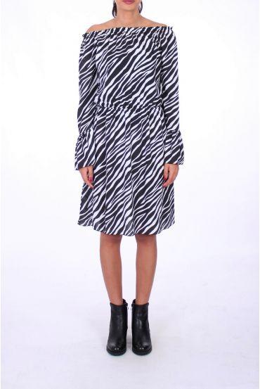 DRESS 0208 ZEBRE BLANC
