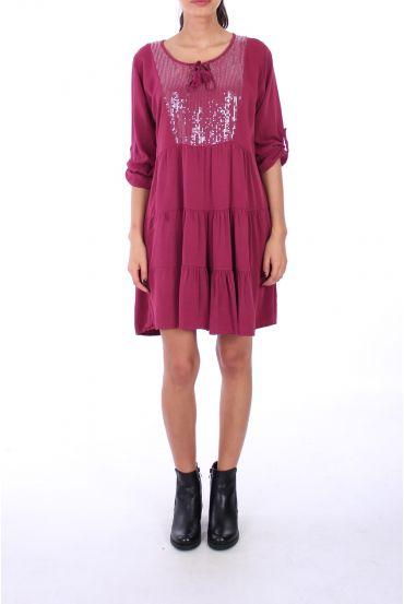 DRESS BOHEME SEQUINS 0236 BORDEAUX