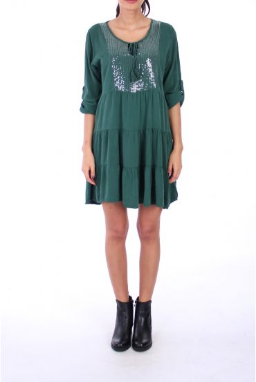DRESS BOHEME SEQUINS 0236 GREEN