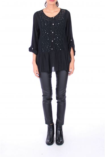 TUNIC 2 PIECES SEQUINS 0237 BLACK