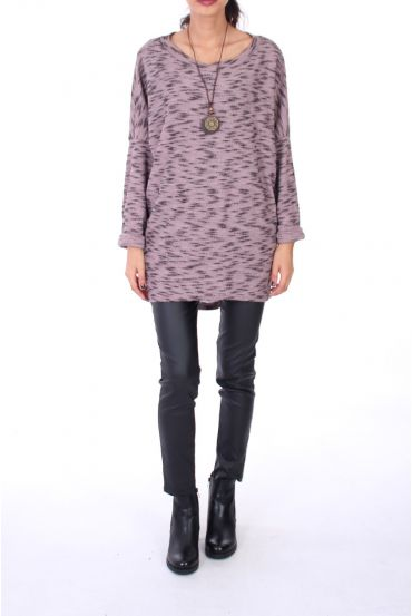SWEATER OVERSIZE + NECKLACE 0271 PINK