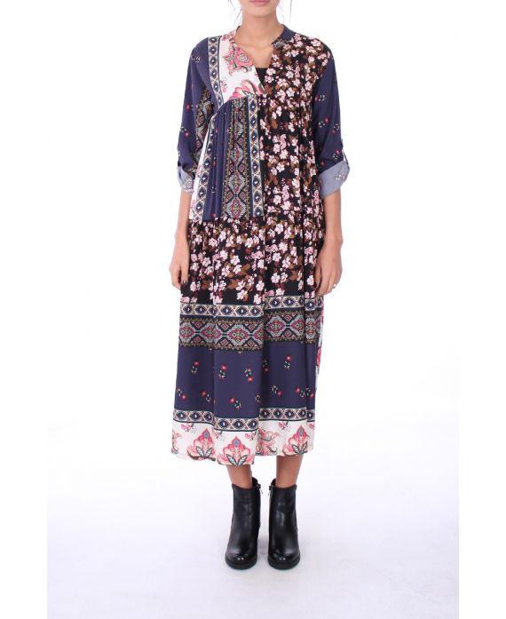 LONG DRESS FLOWERS 0274 NAVY