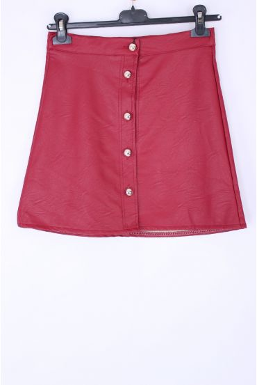 SKIRT FAUX LEATHER X 4 S-M-L-XL 0342 BORDEAUX