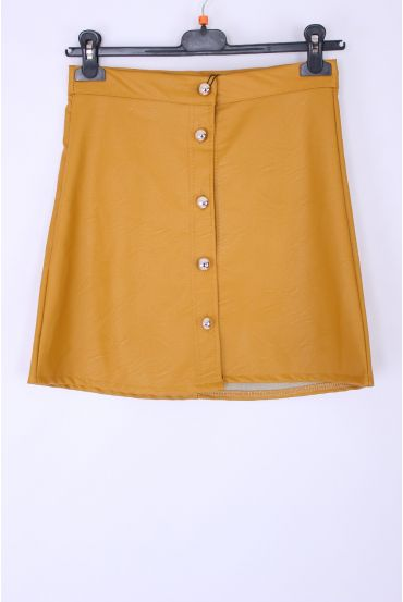 SKIRT FAUX LEATHER X 4 S-M-L-XL 0342 MUSTARD