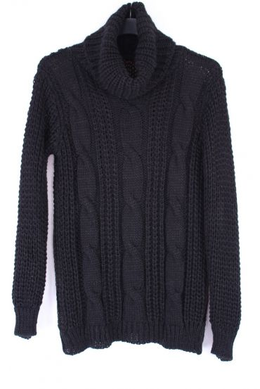 PULL COL ROULE TWIST 0354 BLACK