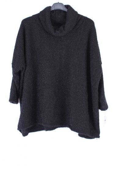 LARGE SIZE PULL COL ROULE 0356 BLACK