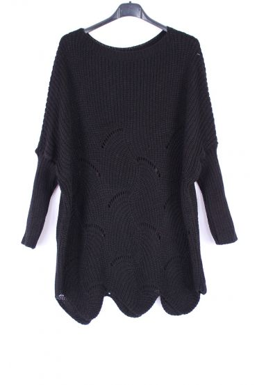 KNIT PULLOVER AJOURE 0375 BLACK