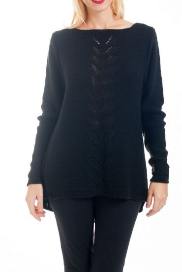 KNIT PULLOVER AJOURE 0376 BLACK