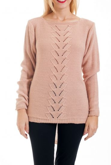 KNIT PULLOVER AJOURE 0376 PINK