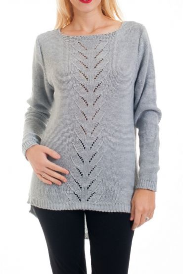 KNIT PULLOVER AJOURE 0376 GREY