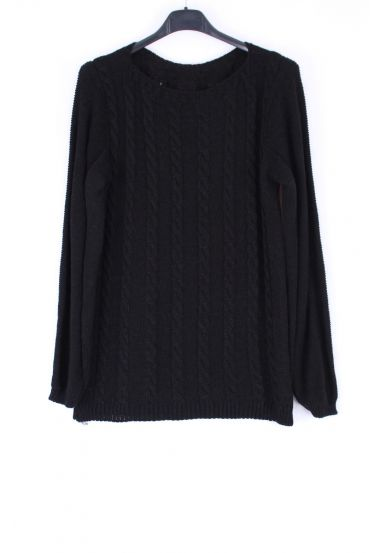 KNIT PULLOVER TWIST 0378 BLACK