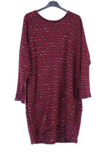 SWEATER TUNIC POCKETS 0383 BORDEAUX
