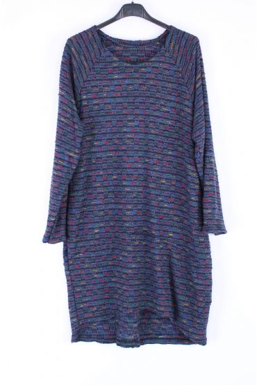 SWEATER TUNIC POCKETS 0383 BLUE