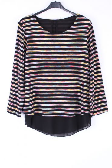 LARGE SIZE SWEATER STRIPED COLORS 0369 BLACK