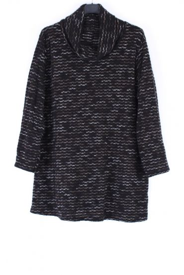 LARGE SIZE PULL COL ROULE 0347 BLACK