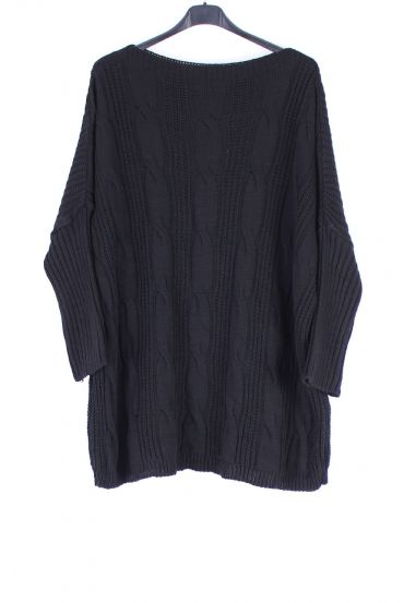 LARGE SIZE PULLOVER TWIST 0326 BLACK