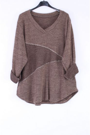 LARGE SIZE SWEATER V ARGENTE 0316 TAUPE