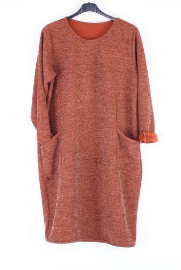LARGE SIZE TUNIC DRESS POCKET 0317 CAMEL