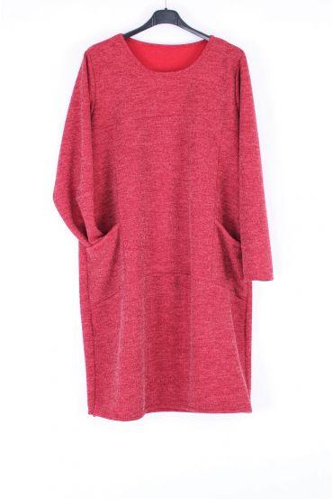 LARGE SIZE TUNIC DRESS POCKET 0317 RED