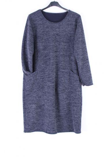 LARGE SIZE TUNIC DRESS POCKET 0317 MARINE