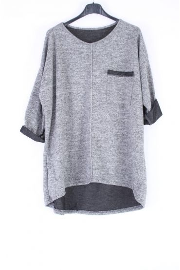 LARGE SIZE SWEATER ARGENTE 0315 GRAY