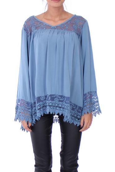 TUNIC EMPIECEMENT LACE 0279 BLUE