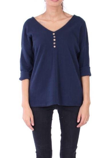 V NECK SWEATER HAS BUTTONS 0308 NAVY