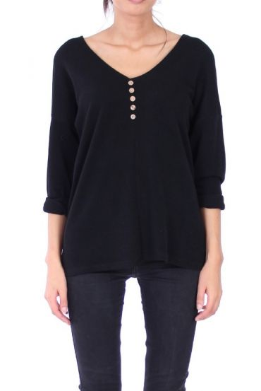 V NECK SWEATER HAS BUTTONS 0308 BLACK