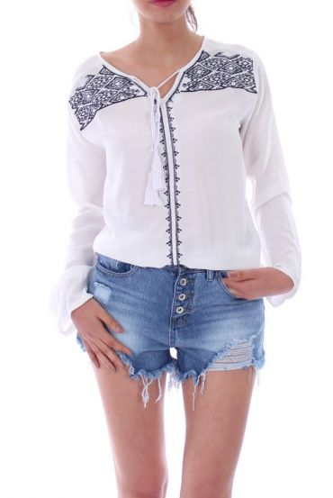 BLOUSE BRODERIE 1071 BLANC