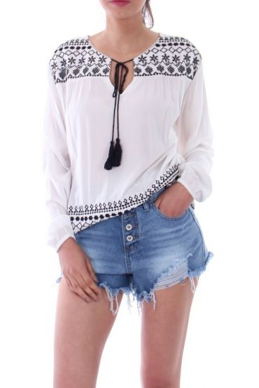 EMBROIDERED TOP 1074 WHITE