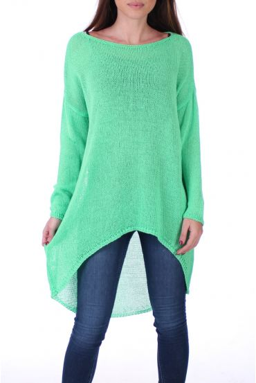 SWEATER TUNIC FINE MESH 0500 FLUO GREEN