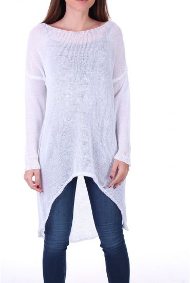 SWEATER TUNIC FINE MESH 0500 WHITE