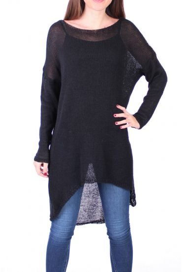 SWEATER TUNIC FINE MESH 0500 BLACK