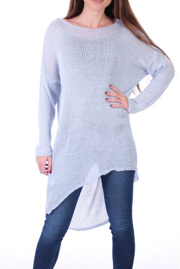SWEATER TUNIC FINE MESH 0500 SKY-BLUE